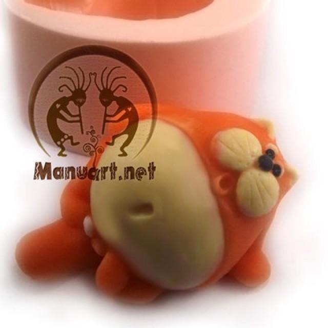 Forma silikonowa - Kot z jajkami leży 3D - do wyrobu mydła, świec i odlewów