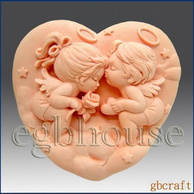 Forma silikonowa - Anioły w sercu - do wyrobu mydła, świec i odlewów