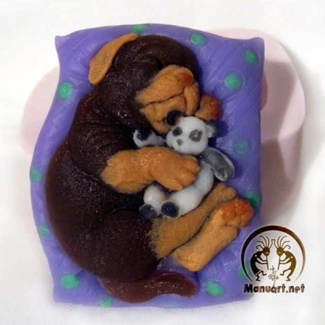 Forma silikonowa - Pies marzy,śpi - do wyrobu mydła, świec i odlewów