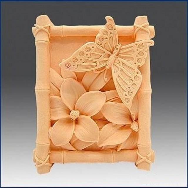 Forma silikonowa - Motyl w bambusowej ramce - do wyrobu mydła, świec i odlewów