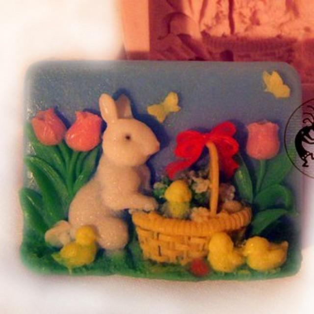 Forma silikonowa - Królik z kurczakami - do wyrobu mydła, świec i odlewów