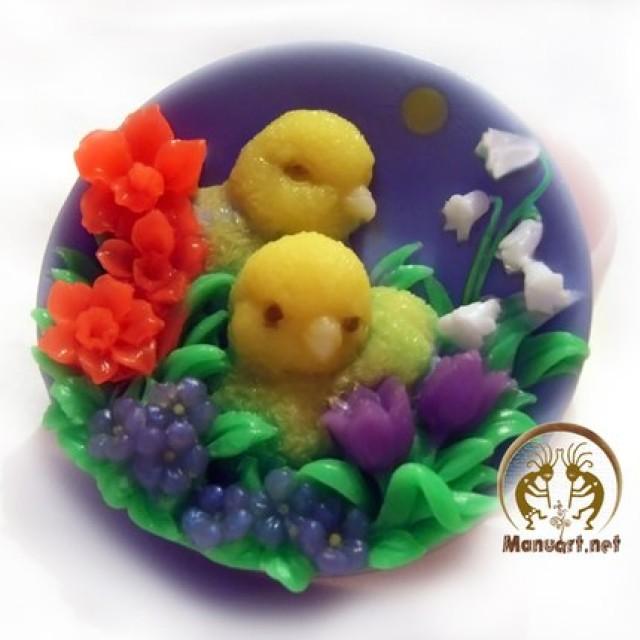 Forma silikonowa - Kurczaki w kwiatkach - do wyrobu mydła, świec i odlewów