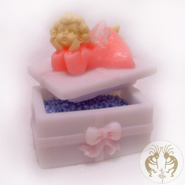 Forma silikonowa - Skrzynka z aniołem - do wyrobu mydła, świec i odlewów