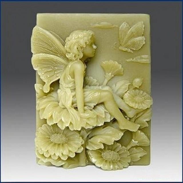 Forma silikonowa - Wróżka na kwiecie z motylem - do wyrobu mydła, świec i odlewów
