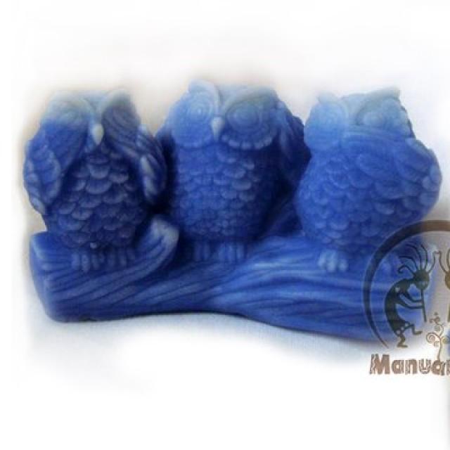 Forma silikonowa - Trzy sowy 3D - do wyrobu mydła, świec i odlewów