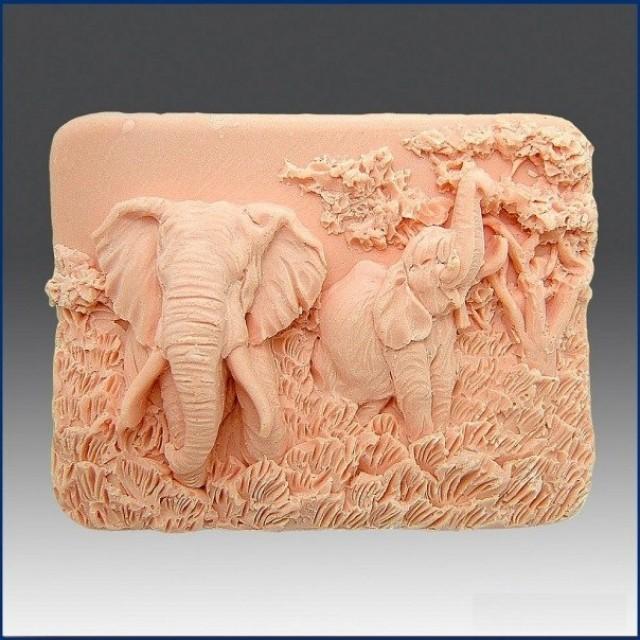Forma silikonowa - Czarujące słonie - do wyrobu mydła, świec i odlewów