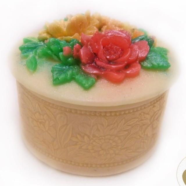 Forma silikonowa - Skrzynka z kwiatami okrągła - do wyrobu mydła, świec i odlewów