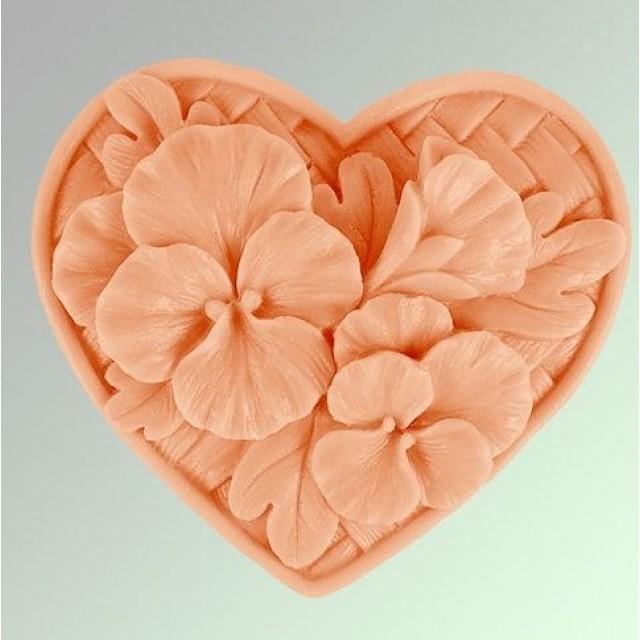 Forma silikonowa - Bratki w sercu - do wyrobu mydła, świec i odlewów
