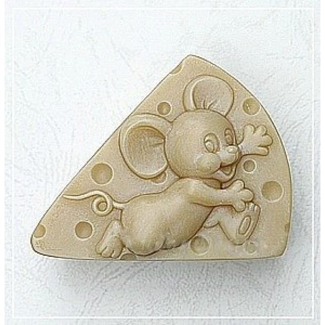 Forma silikonowa - Myszka na serze - do wyrobu mydła, świec i odlewów