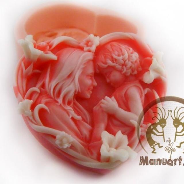 Forma silikonowa - Mama i dziecko w serce - do wyrobu mydła, świec i odlewów