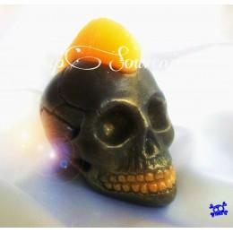 Forma silikonowa - Czaszka z Irokezem 3D - do wyrobu mydła, świec i odlewów
