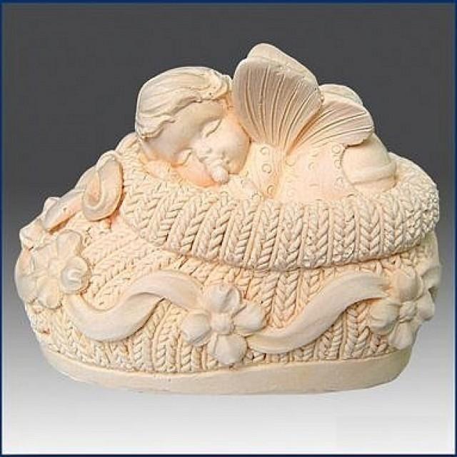 Forma silikonowa - Śpiące dziecko w bucie 3D - do wyrobu mydła, świec i odlewów