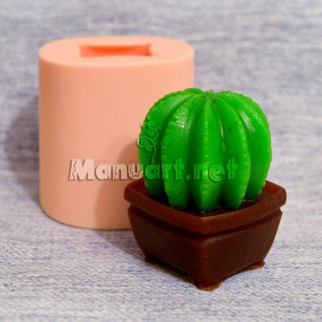 Forma silikonowa - Kaktus 3D - do wyrobu mydła, świec i odlewów