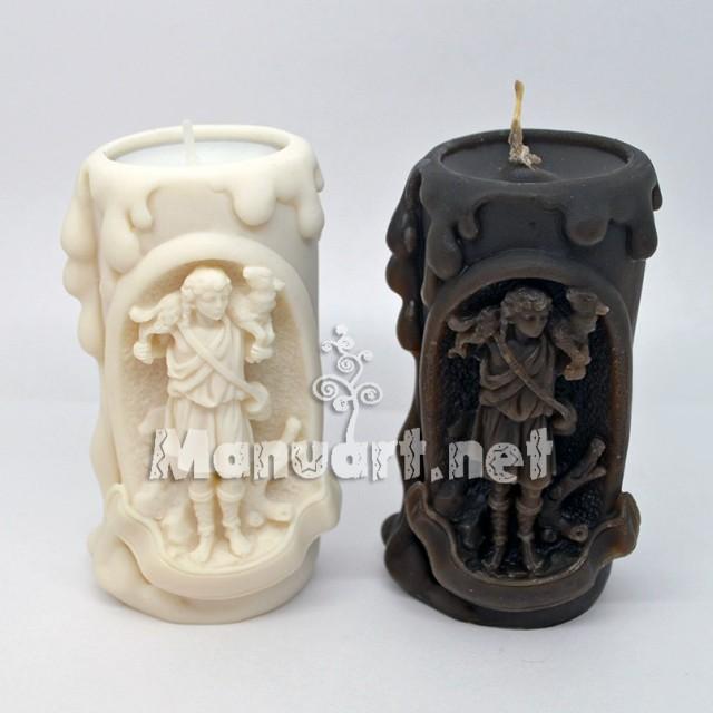 """Forma silikonowa - Forma do świec """"Pasterz z barankiem na ramionach"""" - do wyrobu mydła, świec i odlewów"""
