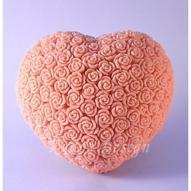 Forma silikonowa - Serce w różach 2D - do wyrobu mydła, świec i odlewów