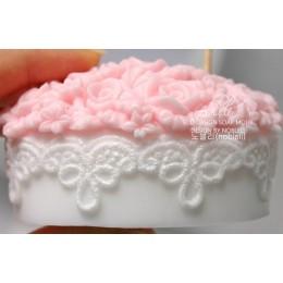 Forma silikonowa - Koronkowy owal z różami - do wyrobu mydła, świec i odlewów