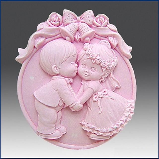 Forma silikonowa - Weselny pocałunek 2D - do wyrobu mydła, świec i odlewów