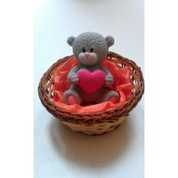 Forma silikonowa - Miś z sercem 3D - do wyrobu mydła, świec i odlewów