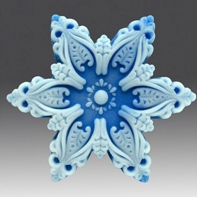 Forma silikonowa - Płatek śniegu № 2 - do wyrobu mydła, świec i odlewów