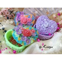 Forma silikonowa - Szkatułka w kształcie serca w różach - do wyrobu mydła, świec i odlewów