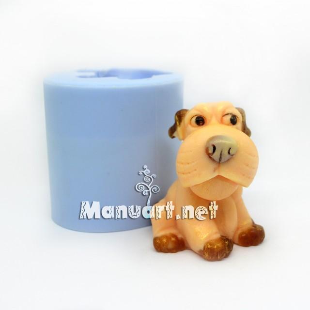 Forma silikonowa - Szczeniak siedzi 3D - do wyrobu mydła, świec i odlewów