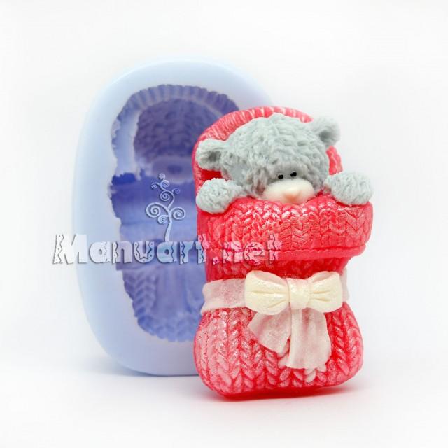 Forma silikonowa - Mis Teddy śpi w rękawiczce - do wyrobu mydła, świec i odlewów