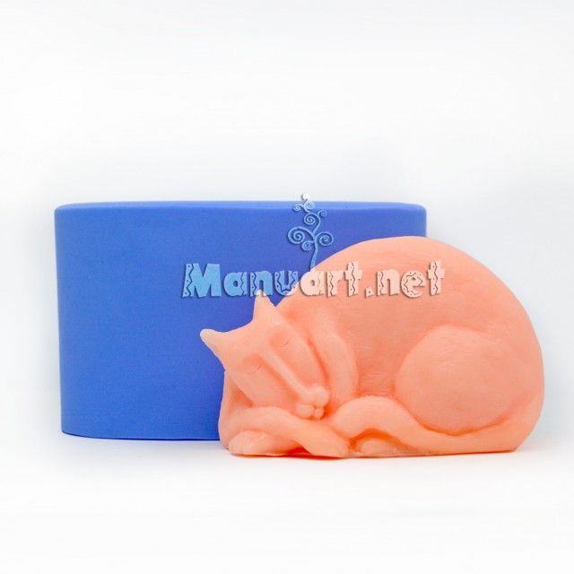Forma silikonowa - Śpiący retro-kot 3D - do wyrobu mydła, świec i odlewów