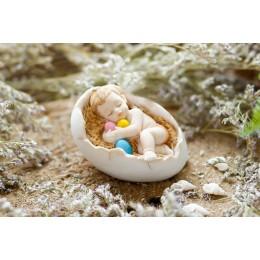 Forma silikonowa - Śpiące dziecko w jajku - do wyrobu mydła, świec i odlewów