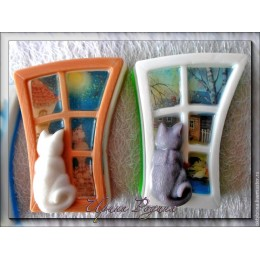 Forma silikonowa - Kot na oknie - do wyrobu mydła, świec i odlewów