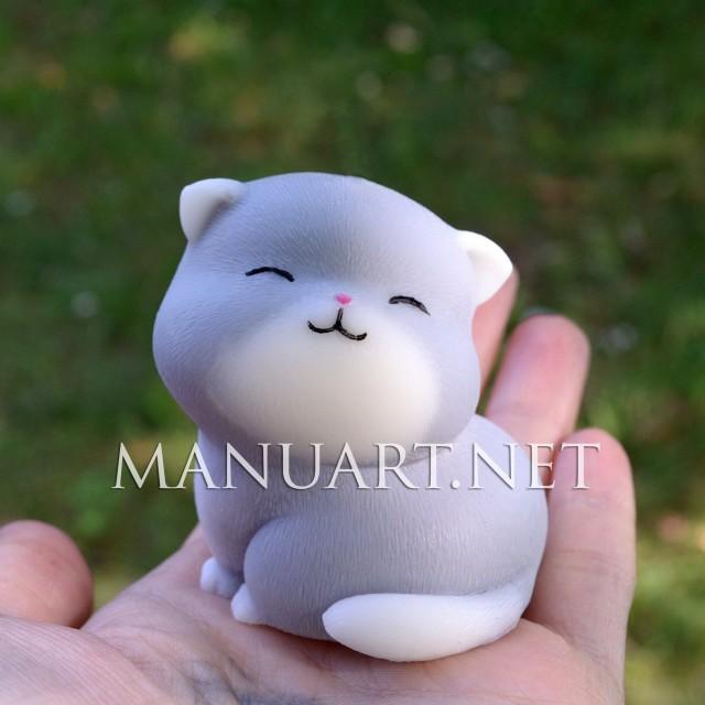 Forma silikonowa - Siedzący kot 3D - do wyrobu mydła, świec i odlewów