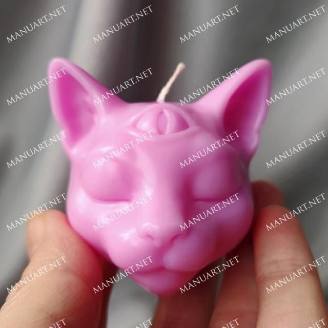 Forma silikonowa - Mała głowa kota ''Budda'' 3D - do wyrobu mydła, świec i odlewów