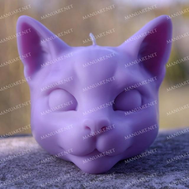 Forma silikonowa - Duża głowa kota 3D - do wyrobu mydła, świec i odlewów