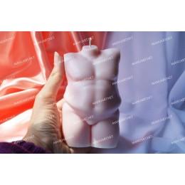 Forma silikonowa - Duży Tors puszystego mężczyzny 3D - do wyrobu mydła, świec i odlewów