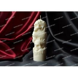 Forma silikonowa - Trzy Czaszki 3D - do wyrobu mydła, świec i odlewów