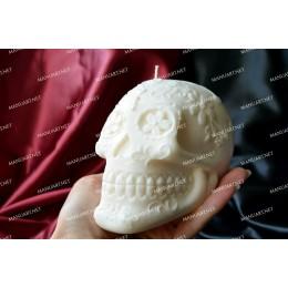 Forma silikonowa - Średnia meksykańska czaszka 3D - do wyrobu mydła, świec i odlewów