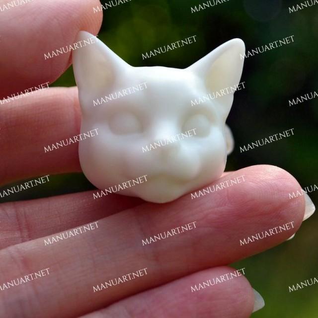 Forma silikonowa - MINI głowa kota 3D - do wyrobu mydła, świec i odlewów